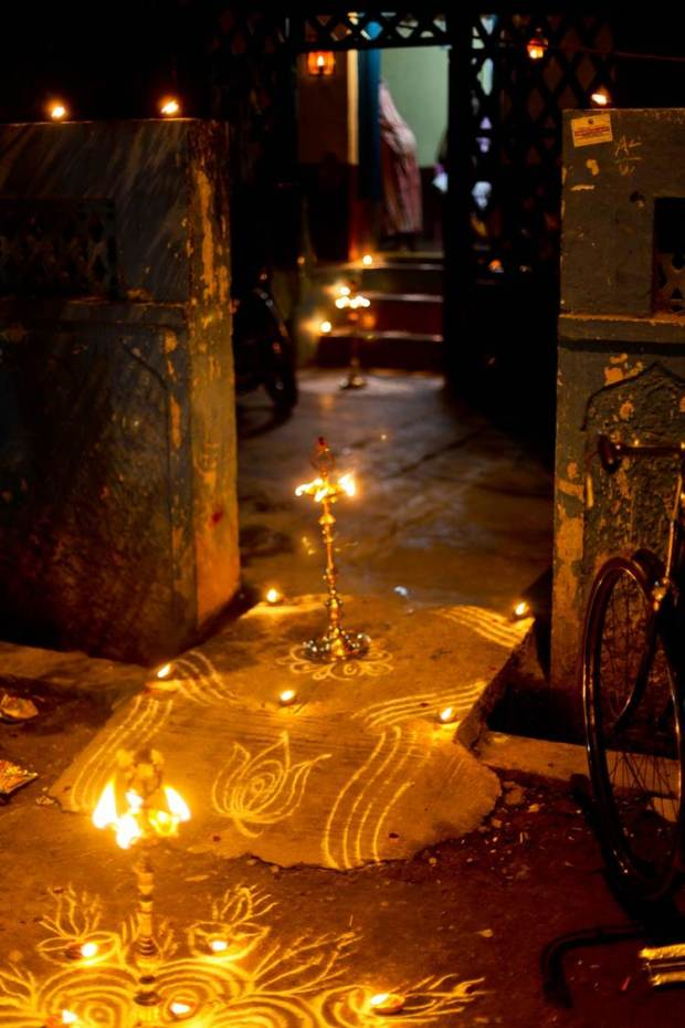 Every family in Thanjavur (formally known as Tanjore) had lamps outside their home for Karthikai Deepam, those with modest budgets used small tea light holders to carry the flames.