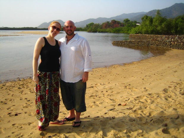 My husband and I in 2011 on the Sussex Beach in Sierra Leone