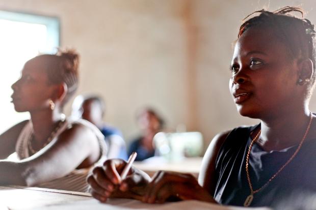 Girls learn with enthusiasm in Kamkwie, Sierra Leone