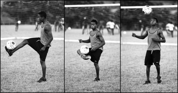 The Craig Bellamy Foundation works with talented young footballers at the Academy. Here Mohamed Kargbo shows off his skills.