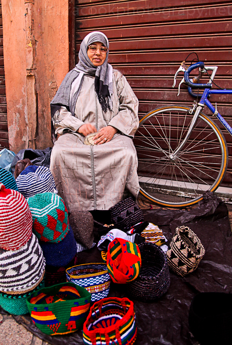 Warm hats for sale in Marrakech
