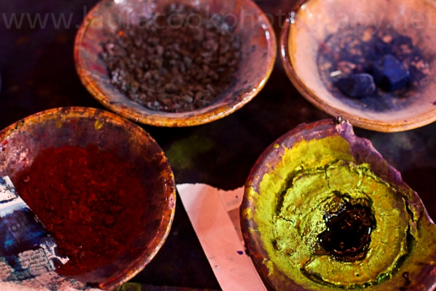 Marrakech is known for its colours - here are dyes used on linen in the market.
