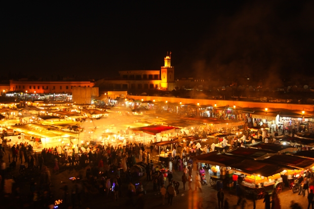 Our first journey overseas in 2013 was to Marrakech. Here is Jamaa el Fna lit up with activity at night.
