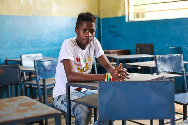 Santos is one of the CBF students I work with at the football academy in Tombo. We recently returned to his old school to visit and he spoke fondly of the time he spent there.