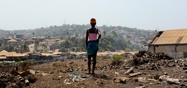 Looking out over Freetown. Mabiniti currently works as a scrap collector.