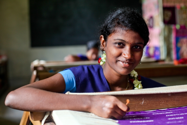What is beauty? To me beauty is knowing your passions and your strengths and not being afraid to share them with the world. At the Artyzan training school in Pondicherry this girl focuses on her embroidary work knowing it will help her to a brighter future. She is proud and confident in her abilities but not afraid to improve.