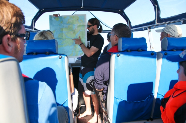 Shane from Basking Shark Scotland explains the route for the day
