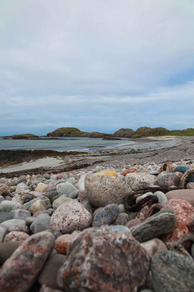 Pebble beach at the southern end of the island