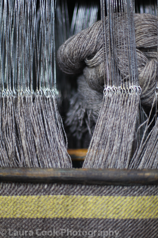 The mill is full of looms ready to use the sheep's wool to create Scottish tweed