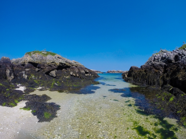 Beautiful turquoise blue waters off the Isle of Coll