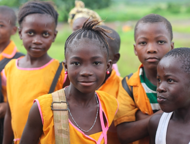 Children on their walk to school near Morcambe in Sierra Leone