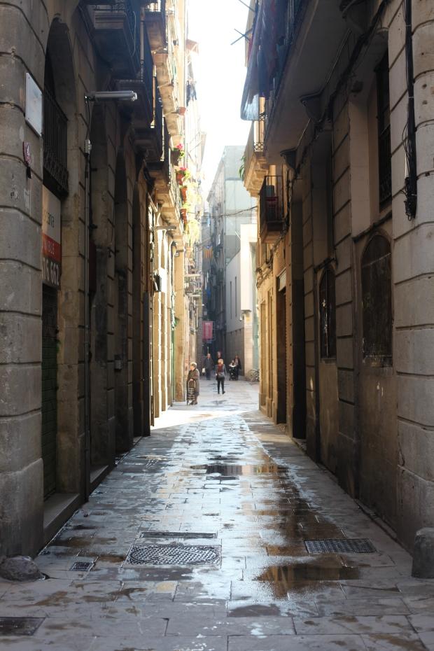 Sunlit streets in December, Barcelona, Spain.