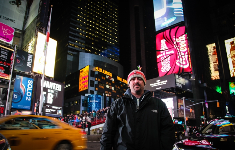 My husband in Times Square