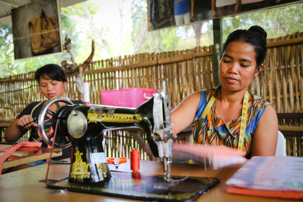 Women also produce different textiles such as bags as part of the social enterprise.