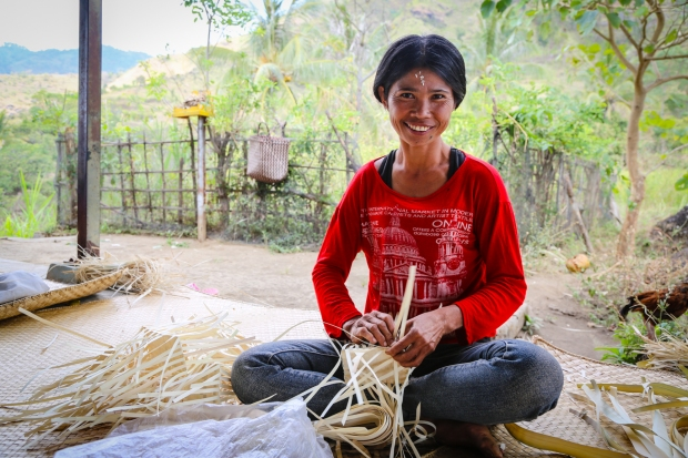 "Women like Ketut Soka weave to make money to support their families. Previously in this area many women and children went to the tourist areas of Bali for begging: ""Now we can make an income and there is work here to do. It is good because we are busy now""."